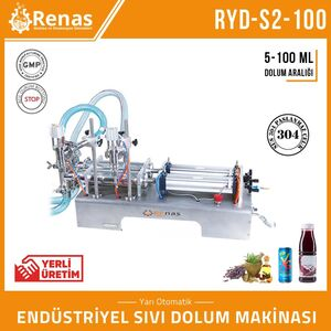 RYD-S2-100 - DOUBLE NOZZLE INDUSTRIAL LIQUID FILLING MACHINE - 5-100ML