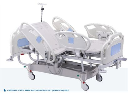 INTENSIVE CARE BED WITH FOUR MOTORS (HEADBOARD CONNECTED TO BOTTOM TROLLEY)